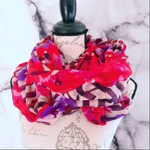 Red Women's Infinity Scarf Floral